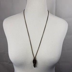 Bronze Color Silvertone Feather Pendant Necklace
